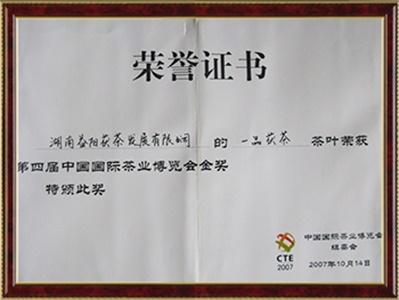 中国茶叶博览会金奖